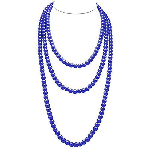 T-Doreen Navy Blue Long Pearl Necklace for Women Girls 69 Inch Layered Strands -