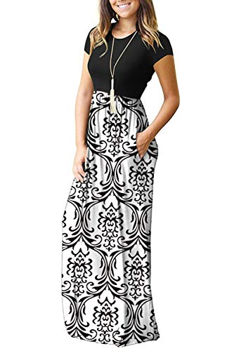 61915dd42 AUSELILY Women Short Sleeve Loose Plain Casual Long Maxi Dresses with  Pockets (XL, Black White)