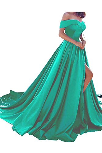 Homdor Split Off Shoulder Prom Evening Dress for Women A-Line Satin Formal Gown