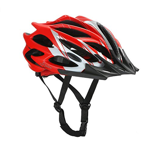 Sefulim Specialized Cycle Helmet Adult Racing Bike Cycling Helmets by Adjustable Size for Girls Boys Spectacle-wearers Matte Red (Medium)