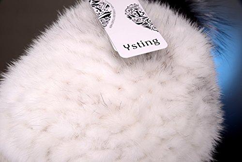 Ysting Women's Knit Mink Fur Hat Fur Hats Wheat Knit Mink Fur Winter Cap with Pompoms