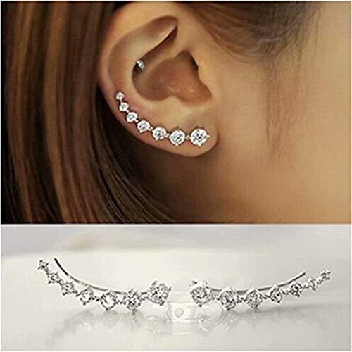REGOU Women Stars CZ Diamond Stud Earring Long Ear Pins Cuff Vine Climber Cralwer Earrings Hypoallergic
