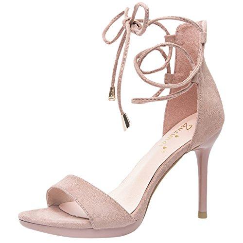Azbro Mujer Moda Sandalias de Tacón Alto Cordón-arriba Tobillo Puntera Abierta Rosa