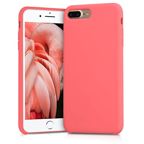 kwmobile TPU Silicone Case for Apple iPhone 7 Plus / 8 Plus - Soft Flexible Rubber Protective Cover - Neon Coral
