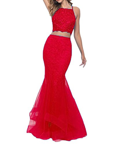 Long Party Gown Red Dresses Pieces Two Prom DKBridal Mermaid zqwnXxTfwH