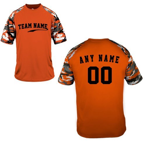 Custom (Any Team Name Front and/or Name/# on Back) Orange Camo Adult Large Sleeve Wicking Jersey Uniform Shirt (Best Softball Jersey Names)
