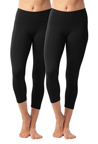 90 Degree By Reflex Yoga Capris - Yoga Capris for Women - Hidden Pocket - Black 2 Pack - Small
