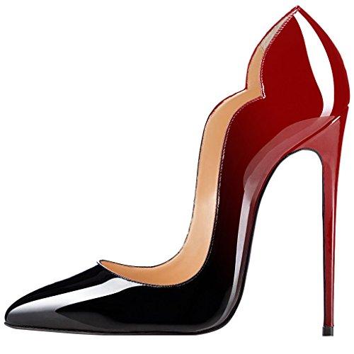 Guoar Kvinna Värme Flicka Spetsig Tå Höga Klackar Pumpar Skor Storlek 5-12 Oss Black-red