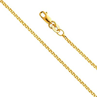 14k Yellow OR White Gold SOLID 1.2mm Flat Open wheat Chain Necklace with Lobster Claw Clasp