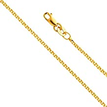14k Yellow OR White Gold SOLID 1.5mm Flat Open wheat Chain Necklace with Lobster Claw Clasp