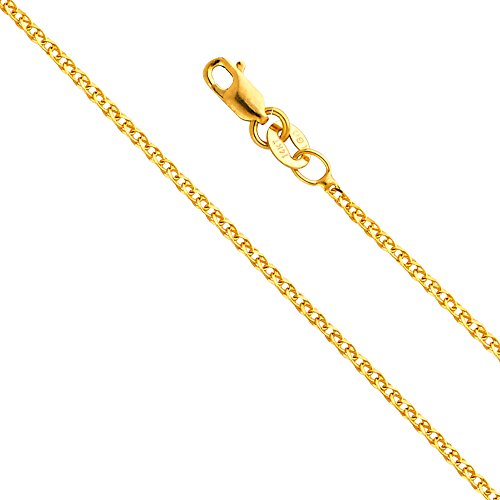 14k Gold Box Chain (Wellingsale 14k Yellow Gold SOLID 1.5mm Polished Flat Open wheat Chain Necklace with Lobster Claw Clasp - 22