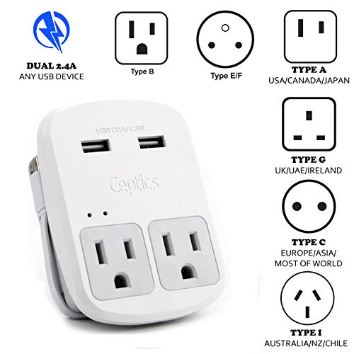 Price comparison product image Safest Travel Adapter Kit, Dual USB for iPhone, Chargers, Cell Phones, Laptop Perfect for Travelers by Ceptics