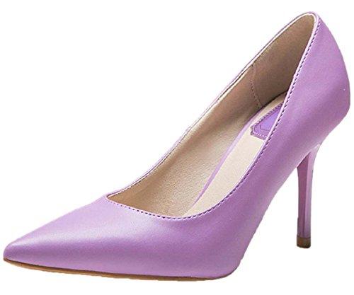 HooH Women's Pointed Toe Stiletto Dress Pump 1485 Purple