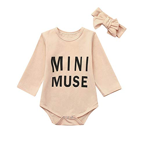 NUWFOR Newborn Infant Baby Boy Girl Letter Romper Bodysuit Headband Outfits Clothes Set(Beige,18-24 Months by NUWFOR (Image #2)