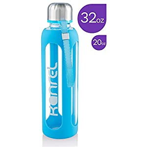 Glass Water Bottle 32 oz, 1 Liter with Silicone Sleeve, Best Large Reusable Drinking Bottles on Amazon, Dishwasher & Essential Oil Safe, BPA Free, For Sports, Yoga or Gym, Eco-Friendly, 1L XL
