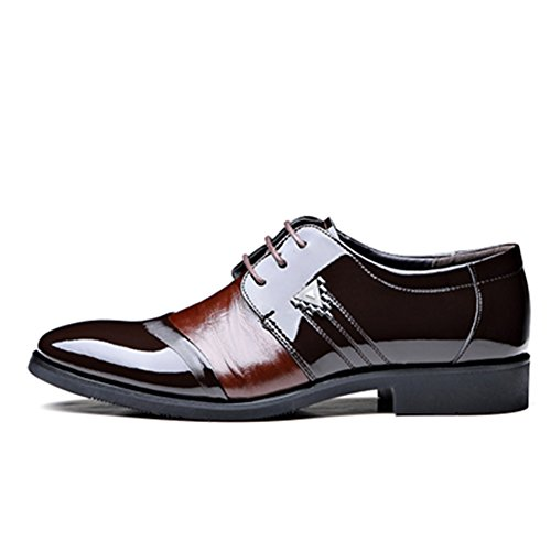 Rainlin Mens Lace Up Patent Leather Oxford Dress Shoes Formal Wedding Shoes Brown LpzgK