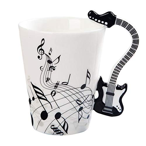 (Musical Instrument Notes Tea Cup Coffee Mug With Guitar Shaped Unique Handle Fashion Tea Milk Ceramic Porcelain Cup Novelty Birthday Gift for Mom Dad Kids Son Daughter Friends Who Love Music,12.5 oz)