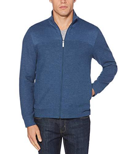 Perry Ellis Men's Cotton Blend Full Zip Texture Knit Jacket, Ensign Blue-4CHK7101, Medium