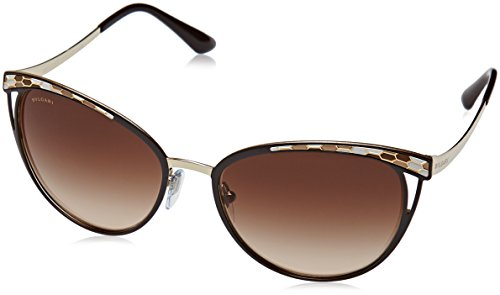 Bvlgari BV6083 203013 Brown/Pale Gold BV6083 Round Sunglasses Lens Category 3 ()