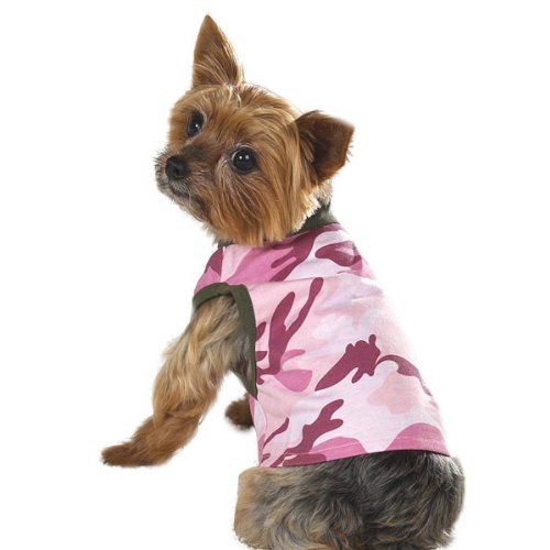 Casual Canine 9-Inch Cotton Camo Dog Tank, Small, (Casual Canine Pink Camo)