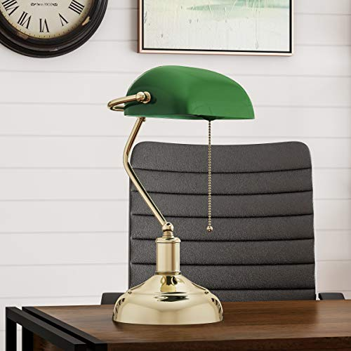 Lavish Home Banker's Green Glass Shade-Antique Vintage Style Retro Desk or Table Lamp with Pull Cord, Energy Saving Light Bulb Included ()