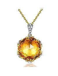 Elegant Fashion Citrine Gemstone Round Solid 14Kt Yellow Gold Natural Diamond Emerald Wedding Pendant Sets