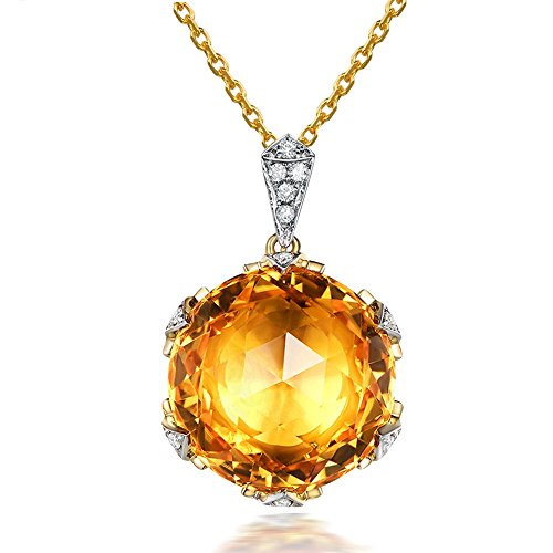 Elegant Fashion Citrine Gemstone Round Solid 14Kt Yellow Gold Natural Diamond Emerald Wedding Pendant Sets by Kardy