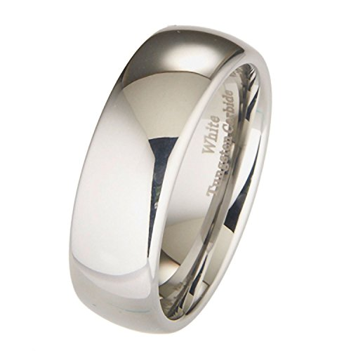 MJ Metals Jewelry 8mm White Tungsten Carbide Polished Classic Wedding Ring Size 8.5