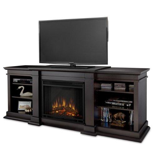 Jensen Indoor Tv - Real Flame Fresno Entertainment Electric Fireplace, Dark Walnut