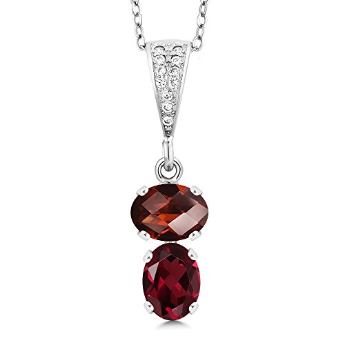 Gem Stone King 2.82 Ct Oval Checkerboard Red Garnet Red Rhodolite Garnet 925 Sterling Silver Pendant
