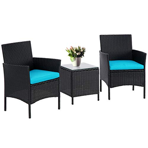 SUNCROWN 3-Piece Patio Bistro Outdoor Furniture Set, All-Weather Black Wicker and Glass Side Table, Blue Cushion