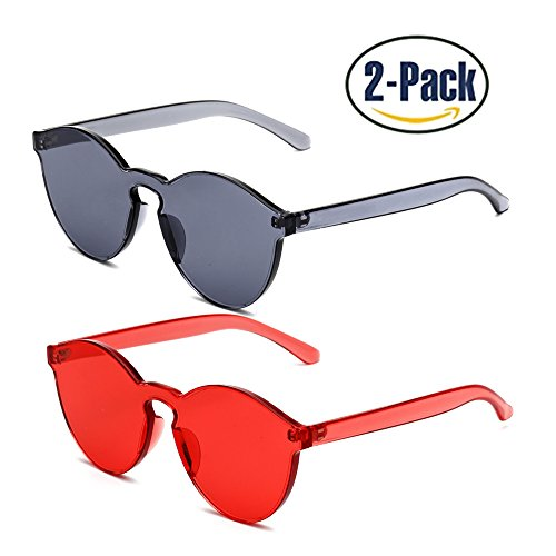 Samto One Piece Sunglasses, 1 or 2 Pack pc lens rimless colorful womens - Womens Sunglasses Rimless
