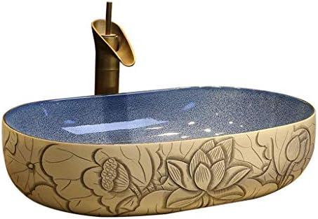 樹脂洗面台天然石楕円型凹型洗面台レトロクリエイティブ景徳鎮セラミックホテルアンチスプラッシュ洗面台