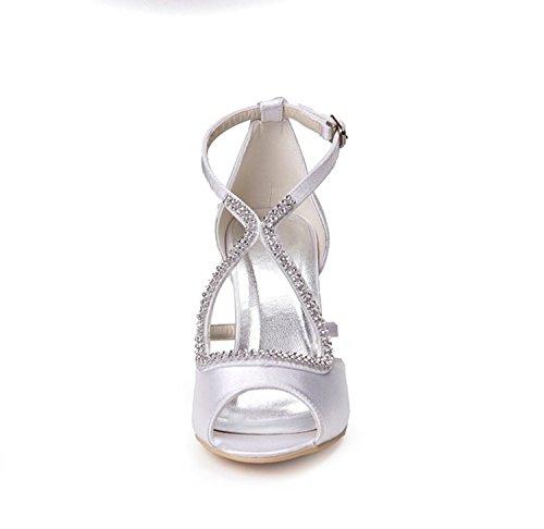 Kevin Fashion gymz663Ladies elegante Rhinestones raso noche fiesta novia boda sandalias marfil