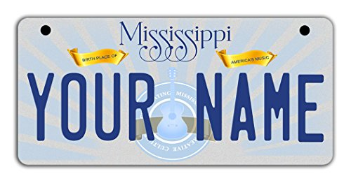 BleuReign(TM Personalized Custom Name Mississippi State Motorcycle Moped Golf Cart License Plate Auto -