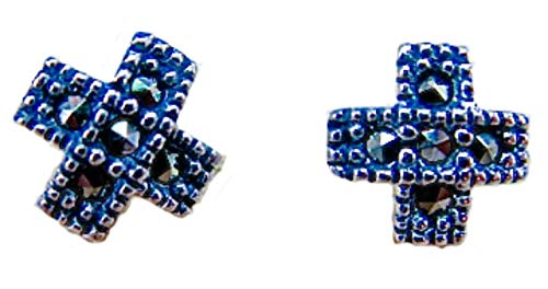 - FaithOwl Cross Marcasite Elegant Sterling Silver Stud Earrings