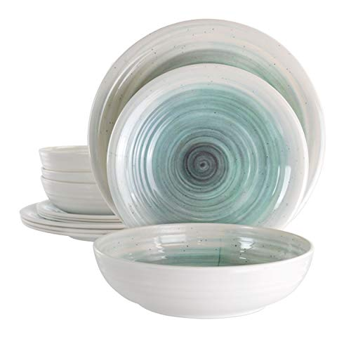 Elama Lightweight Dinnerware Set, 12 Piece, White and Light Blue