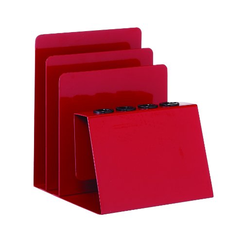 STEELMASTER Pen and Note Holder, 5.38 x 5.25 x 4.5 Inches, Red (26494007) by STEELMASTER