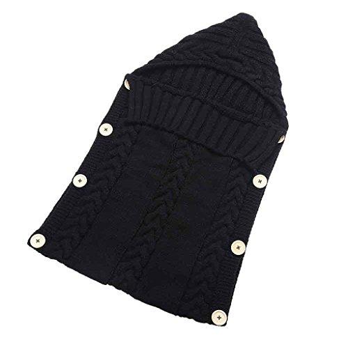 Cute Baby Clothes,Sumilulu Newborn Baby Hood Button Knitting Sleeping Bag (Black)