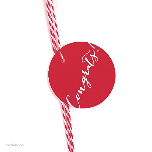 (Andaz Press Circle Gift Tags, Whimsical Style, Congrats!, Red,)