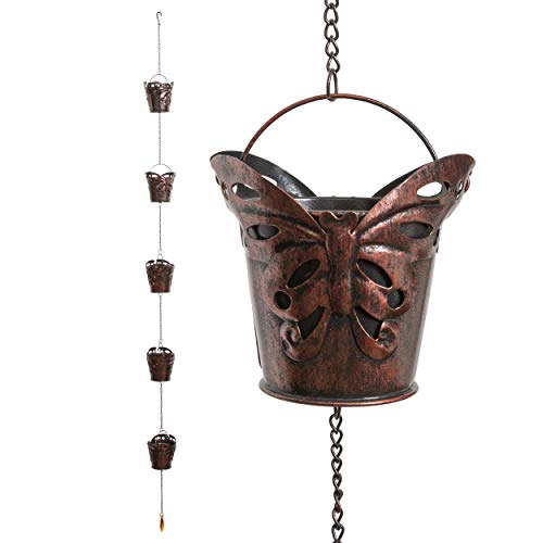 Iron Dragonfly Decorative Rain Chain for Gutters | Unique Downspout Extension Home Décor | Rainwater Diverter with Rain Collector Cups is an Excellent Gift Idea for Housewarming, Birthday (Butterfly)