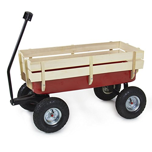 (Best Choice Products Wood Wagon ALL Terrain Pulling Red w/ Wood Railing Garden Cart)