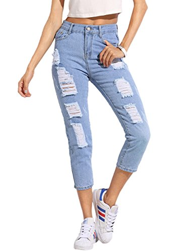 SheIn Womens Solid Ripped Pants High Waist Distressed Cropped Denim Jeans
