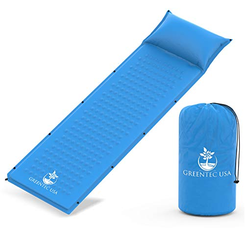 Premium Self-Inflating Sleeping Pad - Inflatable Foam Sleeping Mat for Camping, Hiking, and Traveling - Lightweight, Compact, and Durable - Works Perfectly With a Mummy or Envelope Style Sleeping  Bag ()