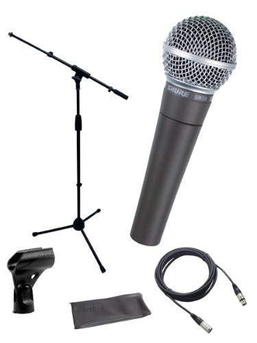 Shure SM58-LC Cardioid Dynamic Vocal Microphone Bundle with Stand Adapter and Zippered ()