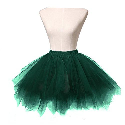 Dresstore Women's Short Vintage Petticoat Skirt Ballet Bubble Tutu Multi-colored Black Green S/M