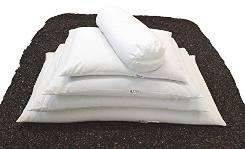 """WheatDreamz 14"""" x 20"""" Japanese Pillow -Cotton Zippered Shell Filled with Organic Buckwheat - Made in USA"""