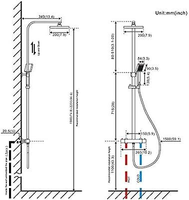 WOOHSE Columna de Ducha termostatica con alcachofa y Alcachofa de ...