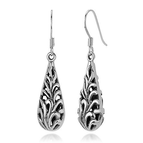 925 Oxidized Sterling Silver Bali Inspired Open Filigree Puffed Leaves Teardrop Dangle Earrings 1.5