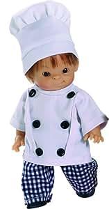 Paola Reina - Paolito, muñeco bebé con traje de cocinero, 22 cm (00599)